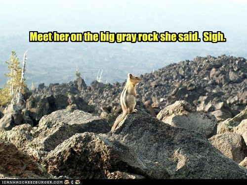 Meet her on the big gray rock she said. Sigh.