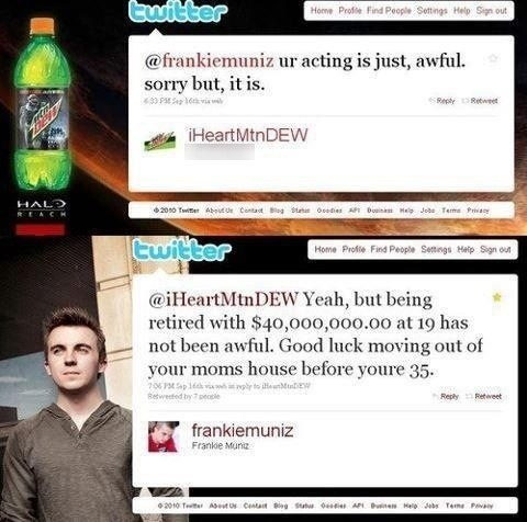 Frankie Muniz,mountain dew,tweet,twitter