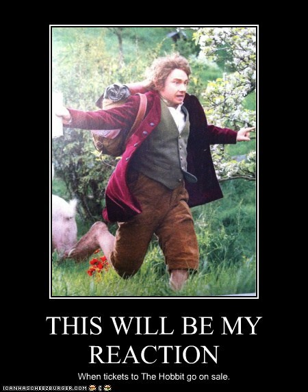 Bilbo Baggins,reaction,Martin Freeman,The Hobbit,tickets,sale,run,hurry