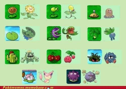 crossover,plants vs zombies,Pokémon,video games