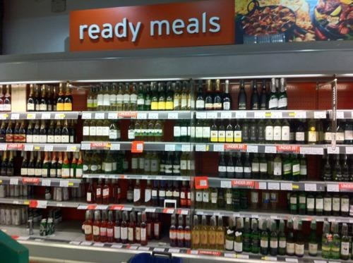 dinner time liquor liquor section ready meals supermarket