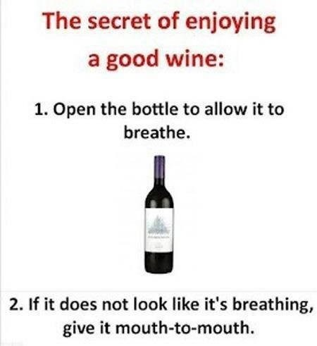 allow it to breathe,good wine,mouth to mouth,save the wine