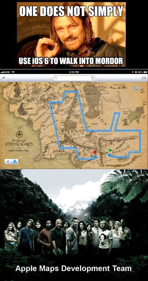 apple,Boromir,designers,ios 6 maps,Lord of the Rings,lost,one does not simply walk into mordor,route,sean bean
