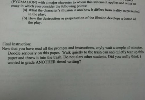 for chumps grading papers instructions teachers test humor