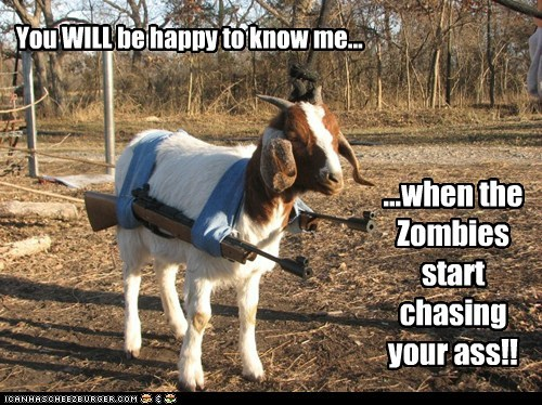 goat,happy,guns,zombie,prepared,chasing,survivalist