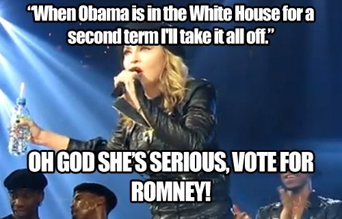 barack obama,endorsement,Madonna,Mitt Romney,threat,vote