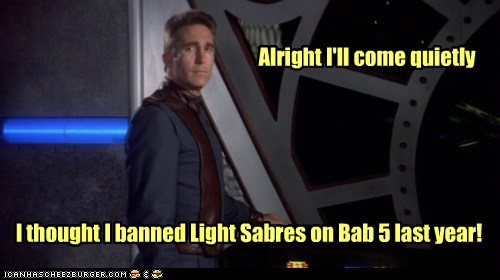 Babylon 5 jerry doyle lightsabers Garibaldi banned michael quietly