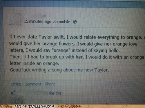 facebook Music orange rhyme taylor swift