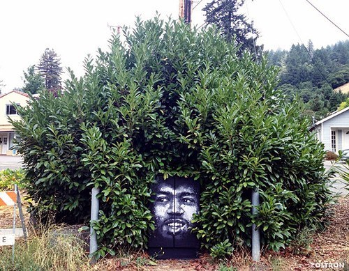afro bush design hacked irl illusion jimi hendrix Street Art - 6614247168