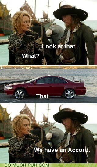 accord,brand,car,disney,double meaning,literalism,model,Pirates of the Caribbean,quote