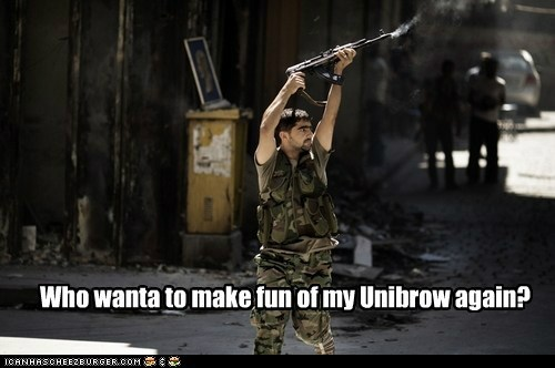 rebel gun response making fun unibrow