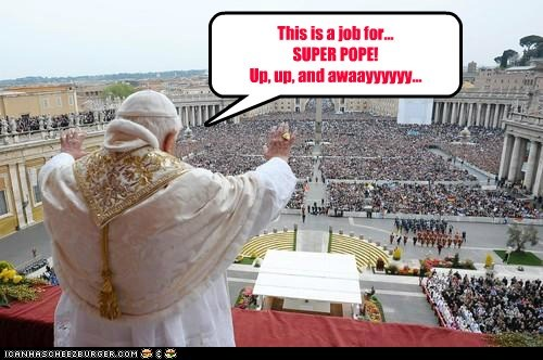 flying,pope,Pope Benedict XVI,superhero,up up and away