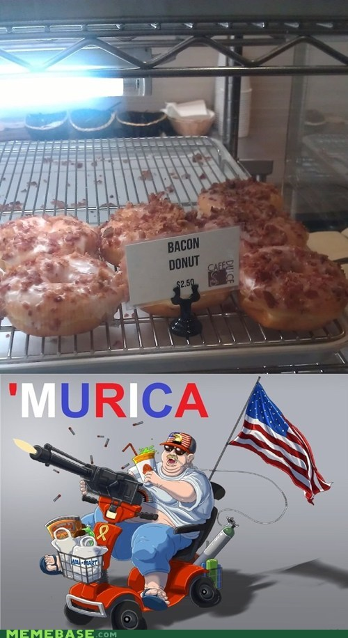 america,bacon,donut,stars and stripes