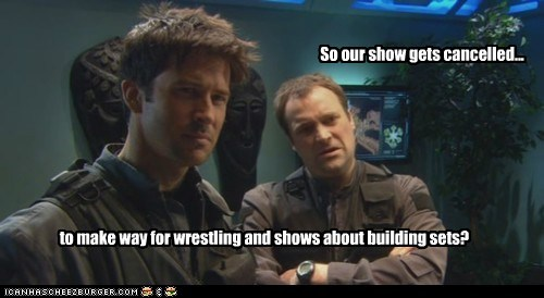 So our show gets cancelled... to make way for wrestling and shows about building sets?