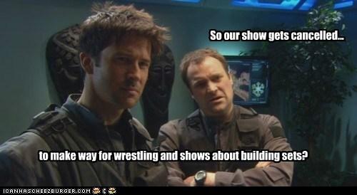 cancelled show wrestling confused Stargate stargate atlantis joe flanigan john sheppard david hewlett rodney mckay - 6616192768