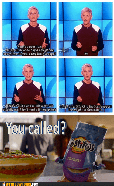 ellen,iphone 5,tostitos,you called