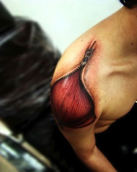muscles shoulder tattoos zipper - 6616353024