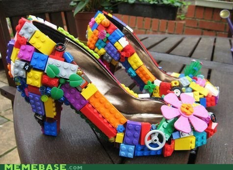 Funny picture of the perfect dancing shoes which have Legos all over them with the caption joking that nobody will want to step on your toes with these on.