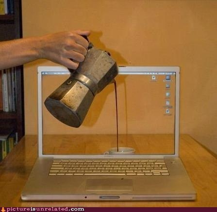 coffee,illusion,laptop