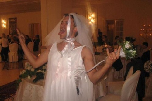 drunk,man,ridiculous,rock on,veil ribbons