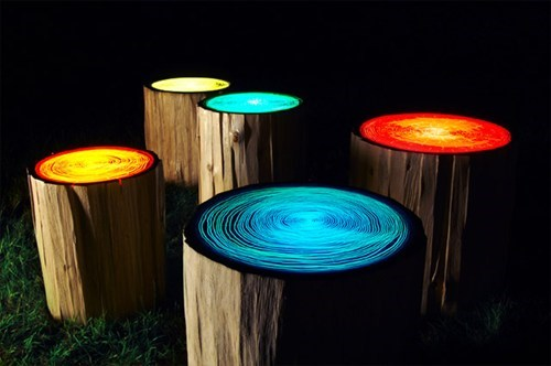 design stump lights pretty colors - 6616581120