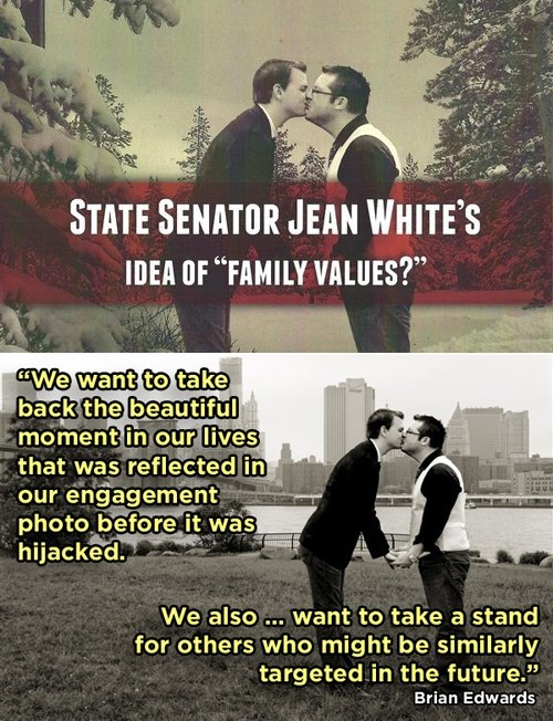 Copyright Infringement gay marriage kissing Photo political advertisement senator stealing - 6616722944