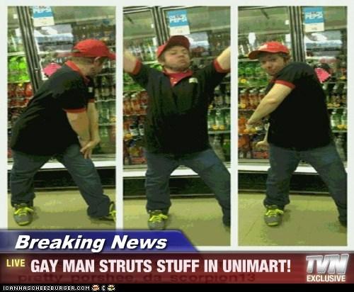 Breaking News - GAY MAN STRUTS STUFF IN UNIMART!