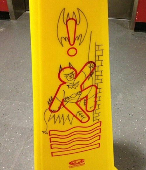 Bat signal batman drawing slippery floor warning - 6616973568
