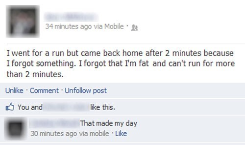 exercise,facebook,fat,forgetful,lazy,running
