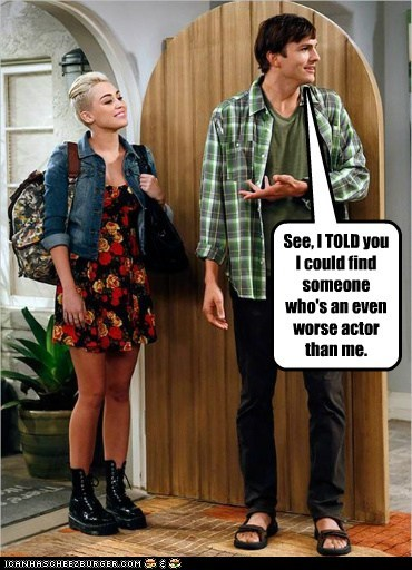 funny actor celeb TV cbs two and a half men miley cyrus ashton kutcher - 6618352384