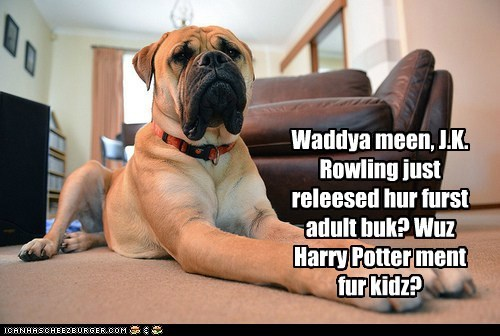 Waddya meen, J.K. Rowling just releesed hur furst adult buk? Wuz Harry Potter ment fur kidz?