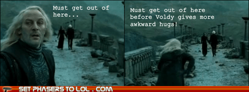 Lucius Malfoy Jason Isaacs run get out of here voldemort awkward hug