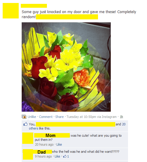dad flowers mom parenting parents random guy stranger - 6618616832