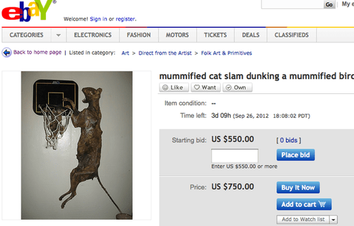 bird cat ebay mummified slam dunk - 6618648320