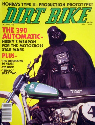 cover,darth vader,dirt bike,magazine,speeder,star wars