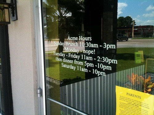 acme hours mondays monday thru friday g rated