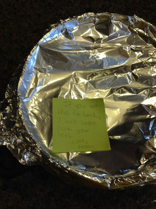 lunch,note from mom,threat