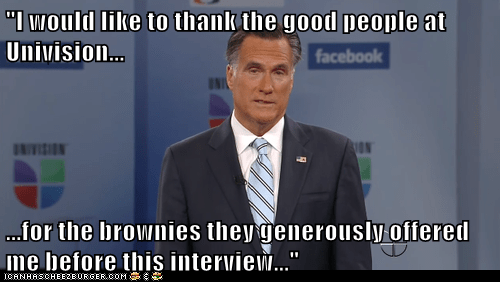 Univision Mitt Romney high brownies offer interview