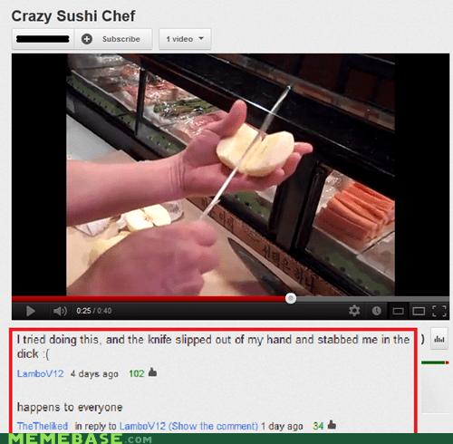 chef,knife,sad story,slip,sushi