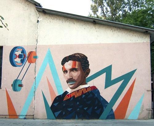 1980s art mural Nikola Tesla - 6619264768