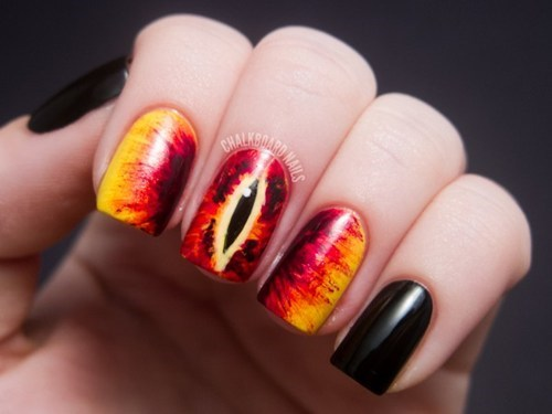 eye fashion if style could kill Lord of the Rings manicure nails sauron style - 6619373568