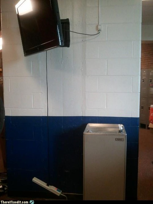 drinking fountain,flatscreen tv,HDTV,plasma tv,power strip,surge protector,TV,water,water fountain