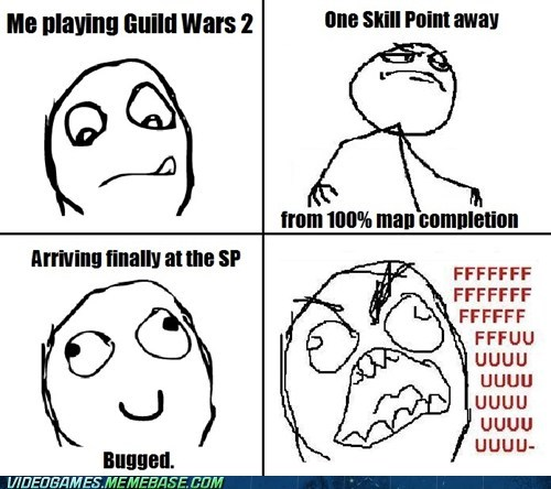 arenanet,guild wars 2,map completion,rage comic