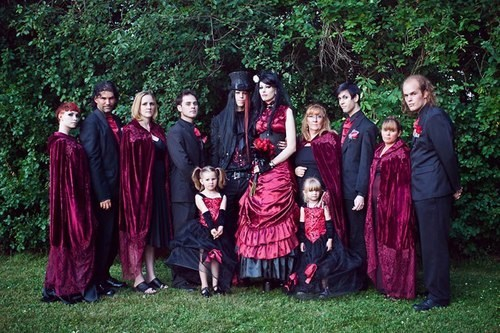 black danger goth red sunshine velvet wedding party