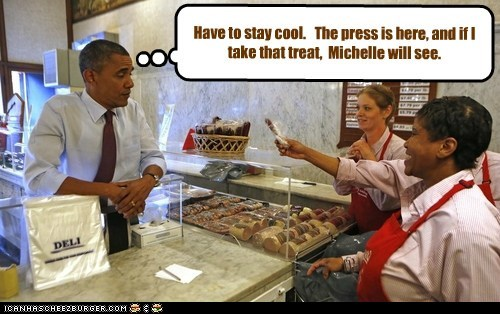 barack obama,treat,michelle,stay cool,press,junk food