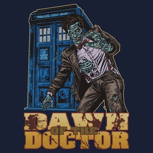 Dawn of the Dead,doctor who,Fan Art,mash up,Matt Smith,tardis,the doctor,T.Shirt,zombie