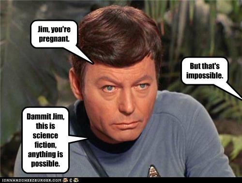 Captain Kirk McCoy impossible the original series DeForest Kelley Star Trek pregnant science fiction - 6620232448