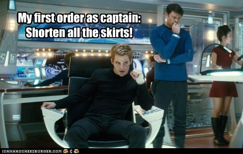 Star Trek,reboot,skirts,shorten,captain,chris pine,McCoy,karl urban