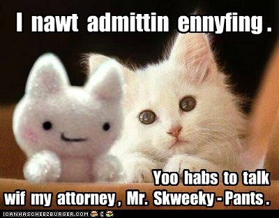 I nawt admittin ennyfing . Yoo habs to talk wif my attorney , Mr. Skweeky - Pants .