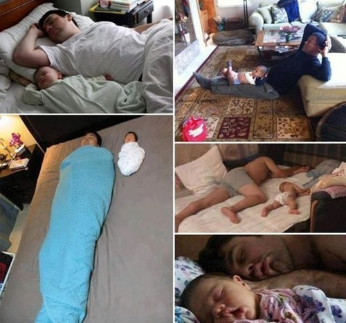babies and dads,sleeping